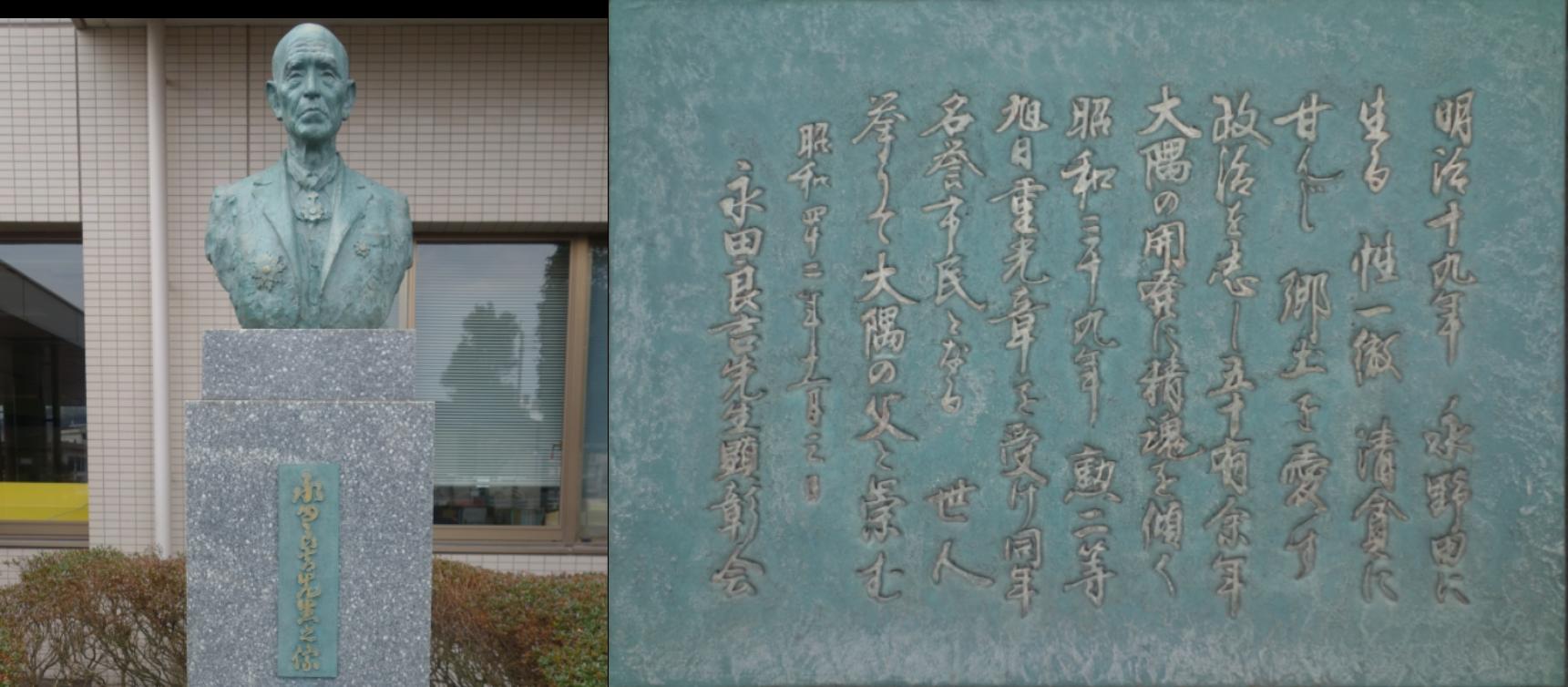 永田良吉の銅像・銘板